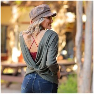 LAST ONE! Olive Thermal Knot Back Tunic